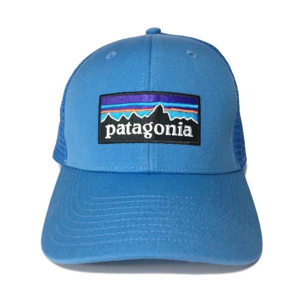 eb7dd87280a NWOT PATAGONIA Trucker Hat Light Blue Logo Front. M 5b6e117e9539f7eb2d1c02bb